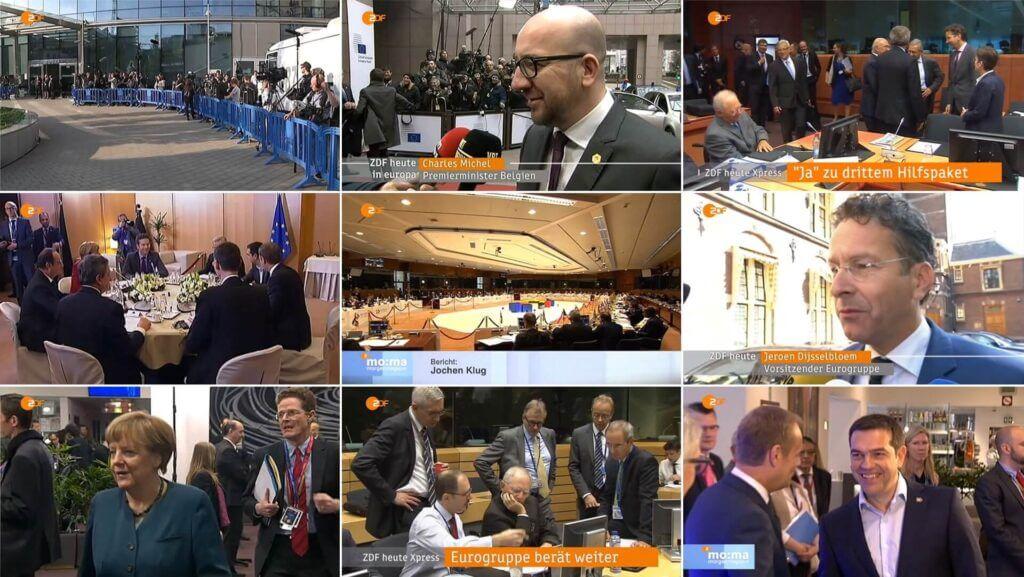 Neun Screenshots zur TV-Berichterstattung zu Krisengipfeln der EU.