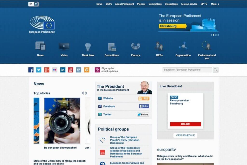Screenshot der Startseite der Webseite des Europaparlaments