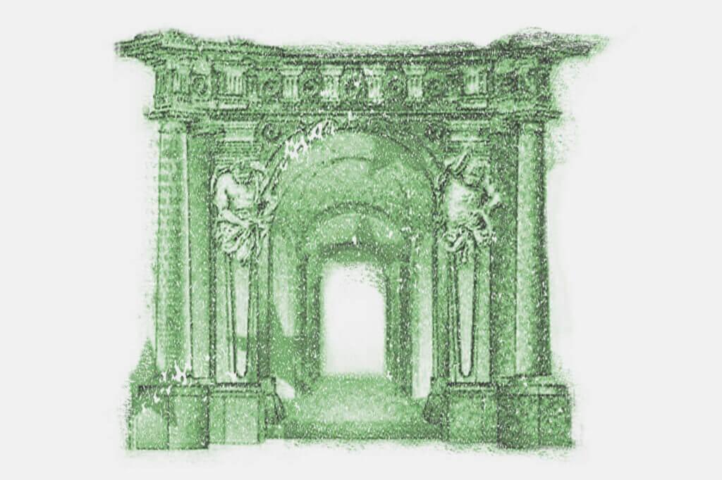 Beispielhafte Illustration eines Tores auf einer Banknote der EU.
