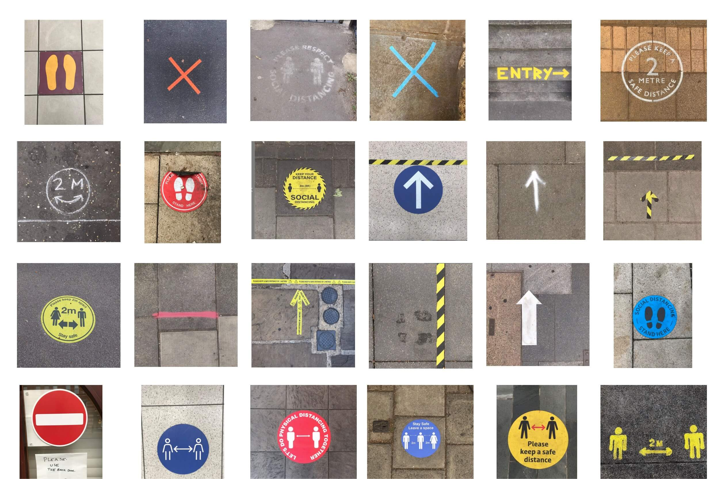Archiv: Covid Abstandsschilder aus Großbritannien